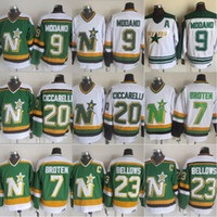 minnesota north stars jerseys achat en gros de-Maillots # 9 de Mike Modano North Stars 20 Dino Ciccarelli 7 Neal Broten 23 Brian Bellows 1991 - Maillots Stars de Dallas