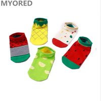 Wholesale Colored Cotton Ankle Socks - MYORED women summer cartoon cotton sock slippers female lady girls ankle sock invisible boat sox candy colored fruit watermelon 100pair DHL