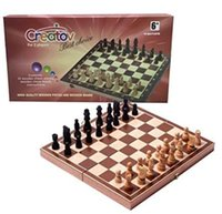 Wholesale Games Deluxe - Chess Board Set, Deluxe Folding Tournament Game Board with Storage Bags and Genuine Intricately Carved Stained Wood Pieces, Great for Travel