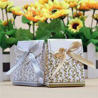 Wholesale Silver Paper Gift Boxes - European Style Wedding Favor Box Euclidean Golden Silver Age Wedding Box Candy Gift Paper Gift Box Various Colors To Choose Drop Shipping