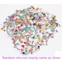 Wholesale-Hot Sale 100pcs / lot plus de 1000 styles peuvent être mélangés Différents modèles Forme alliage Flottant Charms pour Glass Living Lockets
