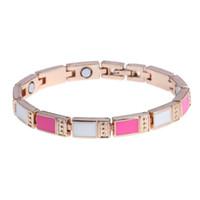 Wholesale Enamel Magnetic - New Arrivals Copper Jewelry Gold Plated Magnetic Therapy Bracelets for women Men Punk Multi Color Oil Enamel Bracelet Bangle Free Shipping