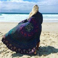 Wholesale M Yoga Mat - Round Mandala Beach Towels Printed Tapestry Hippy Boho Tablecloth Bohemian Beach Towel Serviette Covers Beach Shawl Wrap Yoga Mat