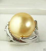 Wholesale South Sea Pearl Engagement Rings - 14mm Yellow golden South Sea Shell Pearl Ring Jewelry silver Ring size 6---11#