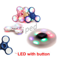 Multicolor spinning button toy - LED Light Hand Spinners Fidget Spinner Top Quality Triangle Metal Finger Spinning Colorful Decompression Finger Toys with button control