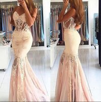 Wholesale Sweetheart Train - 2017 Blushing Mermaid Long Prom Dresses Sweetheart Lace Appliques Sexy See Through Bodice Sweep Train Elegnat Formal Evening Party Gowns
