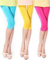 Wholesale Wholesale Velour Pants - Spring Summer Japan Russia New Tide Women Elastic Knee-Length Leggings Capris Pants Cute lady Solid color Polyester blue Leisure Slim Sports