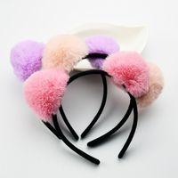 Wholesale Headband Rabbit Korea - New Design Korea Plush Rabbit Ear Headband Women Cat Ear Scrunchy Width Bath Kawayi Hair Band Girls Hair Accessories