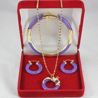 Wholesale Yellow Gold Jewellery Sets - free shipping >>>>> Details about Fine Jewellery 18k yellow gold Purple Jade (Jadeite)Earring Pendant Bracelet Set