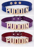 Wholesale cosplay trendy online - Harley Quinn PUDDIN Choker Suicide Squad Collar Neck Necklace Halloween Cosplay Choker Pop Culture Letter Necklace