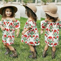 Wholesale Trumpet Mermaid Style Ball Dress - Ins off shoulder flower cotton girls floral beach dress cute baby summer backless tutu rose skirt 1-6Y lapel kid clothing factory toddler