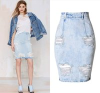 Wholesale Hip High Slit - High Quality Denim Washed Ripped Hole Slit Skirt Knee-Length Zipper Fly Straight Package Hip Skirt Russian Women Summer Bottoms