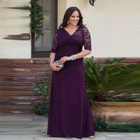 kadınlar için şifon elbiseler toptan satış-Artı Boyutu Bir Çizgi Gelin Annesi Elbiseler Yarım Kollu Dantel Şifon Kadınlar Pageant Parti Elbiseler Uzun Damat Suits