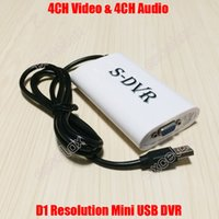 Wholesale D1 Mobile Dvr - Wholesale-4CH Video Audio Input Mobile Mini USB DVR Video Capture Card S-DVR 4 Channel BNC In Win8 32 64bit D1 640x480 Realtime Grabber