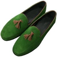 yaz düğün ayakkabıları erkekler toptan satış-Yeşil Siyah Erkekler Loafer'lar Püskül Saçak Düz topuk Süet deri Elbise Düğün Ayakkabı Yaz Nefes Sürüş Tekneler üzerinde Kayma Hombre