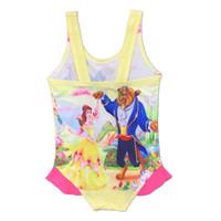 Wholesale Swim Wear 3t Girls - Beauty and the beast baby Cartoon Bikini one-piece Swim wear Kids Bathing Children Sleeveless Summer Dress Swimsuits LC511