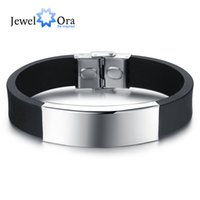 Wholesale Fashion Sporty Silicone - Wholesale-Silicone Stainless Steel Bracelets & Bangles Casual & Sporty Jewelry Fashion Men's Bracelet New 2016 (JewelOra BA101393)