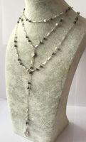 Wholesale Beaded Choker Black - 3 Layer Hematite Stone Charm Necklace Dainty Semi Precious Stone Choker Black And White Diamond Rosary Beads Curved Needle Choker Prebeauty