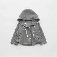 Wholesale Leather Jacket Black Wholesale - Everweekend Girls Striped Hoodie Jacket Cute Baby Button Pocket Coat Lovely Kids Black Color Korean Fashion Autumn Outerwear