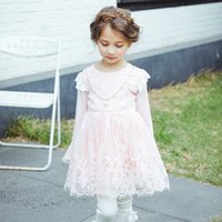 Wholesale Embroidered Dress Pearls - Everweekend Girls Pearls Lace Floral Embroidered Dress Lovely Kids Tulle Ruffles Fly Sleeve Clothes Princess Autumn Party Dress