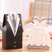 100pcs DRESS TUXEDO Wedding Candy Boxes Bride and Groom Party Gift Box Anniversaire Noël Faovrs Livraison gratuite