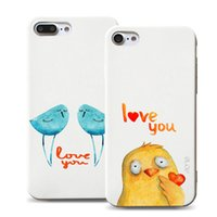 Wholesale Iphone Cartoon Designs - Painting Cartoon Case For Iphone 7 6 6s Plus Soft TPU Case Creative Couple Design 3D Animal Pattern Soft TPU Case With OPPBAG