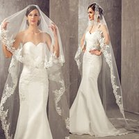 Wholesale cathedral veils for sale - 2017 Best Selling Meters Long Cheapest Chapel Length White Ivory Bridal Veil Lace Appliques Veu De Noiva Longo Wedding Veil CPA859