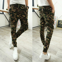 Wholesale fit cargo pants - Camo baggy Joggers mens long harem pants Fashion Slim Fit Camouflage Jogging Pants Men Harem Sweatpants Cargo Pants for casual wear