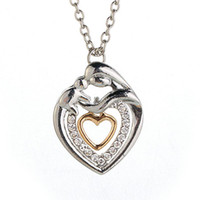 Wholesale Mum Necklaces - Mom And Baby Necklace Mother's Day Gift Mother Mum Son Daughter Child Crystal Rhinestone Heart Shaped Pendant Necklace For Women