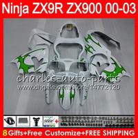 Wholesale Ninja Kawasaki Fairing 9r - 8Gifts 23Colors For KAWASAKI NINJA ZX 9 R ZX9R 00 01 02 03 900CC green black 40NO36 ZX 9R ZX900 ZX900C ZX-9R 2000 2001 2002 2003 Fairing