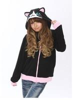 Wholesale Black Hoodie Ears - Animal Black Cat Cute Hooded Hoodie with Ears Women Female Men Winter Hoody Coat Fleece Thick Coat Jacket Plus Size XL