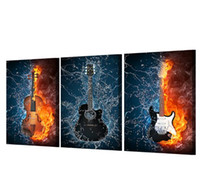 Wholesale Music Art Decor - HD Print 3 Panels Canvas Art Black Burning fire Guitar Music Painting Room Decor Canvas Wall Art Posters Picture