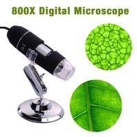 Wholesale Usb Digital Microscope Stand - 8 LED 800X USB Digital Microscope Endoscope Magnifier With Adjustable Stand TE071