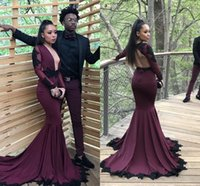 Wholesale burgundy prom evening dress long sleeves