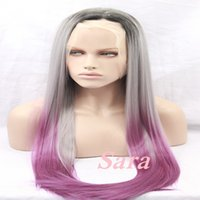 Wholesale Sexy Gray Wigs - New Arrival Beauty Sexy Ombre Two Color ombre Straight Hair Wig Synthetic Lace Front Black Root purple gray Women Party