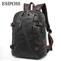 Wholesale mens backpack casual - Wholesale- Luxury Brand Backpack Mens High Quality PU Leather Vintage Black Men Male Casual Travel Bags Backpack for Laptop