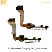 Wholesale Replacement Usb Dock Iphone 4s - Original 5pcs lot For iphone 4G 4S USB Dock Charging Port Flex Cable Charger Connector Ribbon Replacement parts