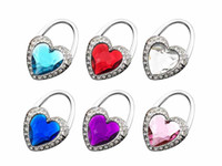 Wholesale Souvenir Purse - New Fushia Gift Unique Souvenir Rhinestone Love Heart Crystal Folding Purse Hook Handbag Hanger Holder