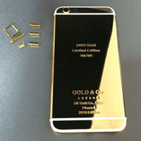 ZG 24k Gold Plaquage Metal White Line Back Housse Housse Housse Avec Sim Carte Bac Touche Volume Mute Set Pour iPhone 6 6Plus
