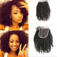 Afro Kinky Curly Lace Encerramento com cabelos para bebês Malásia Virgin Human Hair Middle Free 3 Part Top Closures FDSHINE