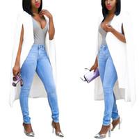 Wholesale Business Suit Women Fashion - 2016 Hot Style Women long cloak elegent cape pure color business suit loose fashion sleeveless lady suit jacket S M L XL G013