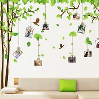 Wholesale tree branch vinyl wall art - AM9019 Large Tree Wall Decals Photo Frame Vine Branches Wall Stickers Birds Green Leaves Wall Art cm Home Decor