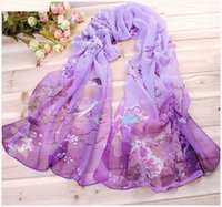 Wholesale Wholesale Peacock Silk Flower - Long Chiffon Silk scarves Designer Woman Fashion New Design Peacock Flower print scarves