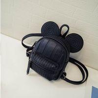Wholesale Mouse Backpack - Wholesale- Teenager Girls' Bag Cute Mini Backpacks PU Leather Zipper Bags kawaii Mice Ear Ladies Bags Designer Women Backpack WLF063