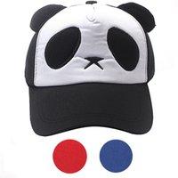 Wholesale Kids Panda Baseball Hat - Fashion New Child Boys Girls Caps Red Blu Black Color Cute Panda Baseball Cap Kids Summer Hat