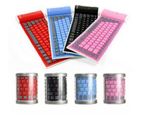 Wholesale Wireless Silicone Bluetooth Keyboard - Bluetooth Wireless Soft Silicone Keyboard Foldable Waterproof Universal Portable for ipad iphone Samsung Smart mobile phone
