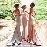 Wholesale Delicate Mermaid - Delicate Lace Top Bridesmaid Dresses Spaghetti Sweetheart Mermaid Formal Evening Dress Backless Floor Length Prom Gown Maid of Honor Dress