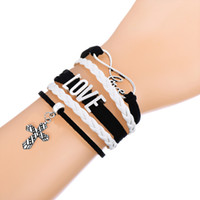 Wholesale Braid Pendant Bracelets Fashion - Fashion Multilayer Braided Bracelet With Infinity Love Cross Pendant Adjustable Pink and White Leather Bracelets For Daily Wear