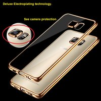 Wholesale Sumsung Galaxy Cell Phones - Cell phone Cases for Sumsung galaxy S6 S7 Edge Ultra-Thin Shock Resistant Electroplating Soft Gel TPU Silicone Cases Cover Transparent