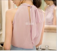 Wholesale Chiffon Korean Women Fashion - New Women Beading Chiffon Blouse Korean Fashion Sleeveless Women Turtleneck Chiffon Blouse Shirt Women Top S M L XL